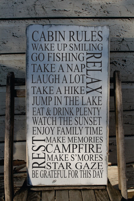 Cabin rules sign rustic cabin sign up north decor typography for Up north cottages
