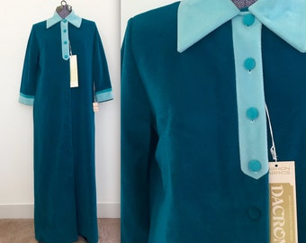 Vintage 1970s Vanity Fair Colorblock Lounge Robe - RARE Mint Deadstock NOS