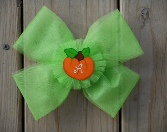 Pumpkin Hair Bow,  Personalized, Fall, Thanksgiving