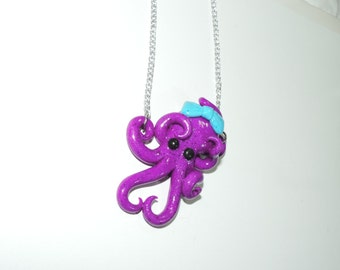 purple octopus necklace with pink bow,  semi translucent, opalescent, sparkly, glitter, specks, spots