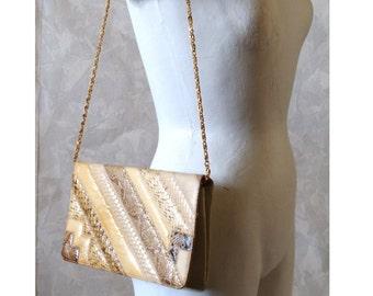 70's Snakeskin Clutch Patchwork Gold Chain Shoulder Strap