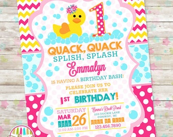 Rubber Duck, Duckie Birthday, Duck Birthday, Pink Rubber Duck Birthday, Printable Invite, Birthday Invitation, Splish Splash Pool Bash, DIY