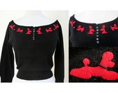 Adorable 1950's Black Cashmere Scoop Neck Sweater with Red Poodles Rockabilly Pinup Girl Vintage Sweater Girl VLV Size-Medium