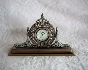 Miniature FILIGREE MANTLE Shape CLOCK Made by 1928 Jewelry Company Copper Silver Tone Finish Japan Quartz Movement Stand Mother of Pearl
