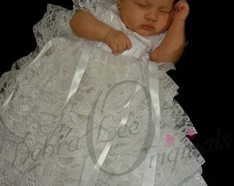 Lace White Christening Gown  Chistening Dress  Blessing Gown  Blessing Dress  Naming Dress / Formal Ware