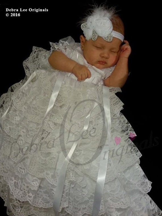 Lacey White Christening Gown  Chistening Dress  Blessing Gown  Blessing Dress  Naming Dress / Formal ware