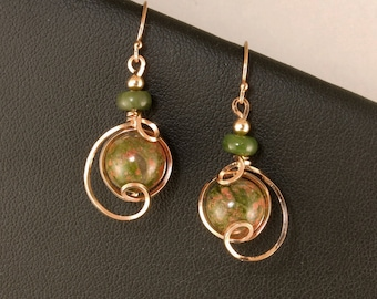 Olive Green Unakite Small Drop Rose Gold Earrings, Unakite Stone Unique Wire Wrapped Rose Gold Earrings, Unakite Jewelry, Rose Gold Jewelry