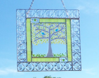 Tree of Life // StAiNeD GlAsS PaNel // Blue Bird of Happiness // Fused GLass Center // Small // Bright // Nature // Summer // Graceful //Fun