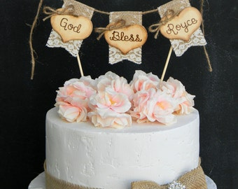 God Bless Christening Baptism Cake Topper Burlap & Lace Bunting Flags Banner Wood Hearts Rustic Country Shabby Chic
