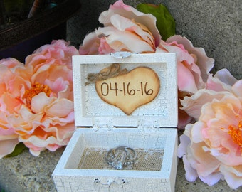 Ring Bearer Wood Box Personalized Wood Heart Rustic Ring Box Shabby Chic Small Ring Box With This Ring I Thee Wed Keepsake Box