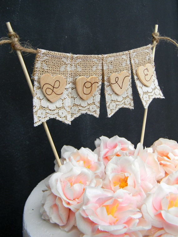 wedding cake banner toppers items similar to cake topper burlap amp lace cake 21982