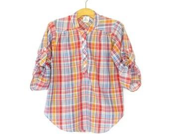 Vintage 80s Blouse * 1980s Plaid Shirt * Rolled Sleeve Blouse * Medium