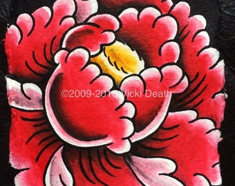 Red Peony Hand Painted Original Art