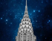 Chrysler Building, Art Deco, New York Photography, Navy Blue, Silver, New York City Print, Chrysler and Stars