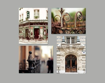 SALE, Paris Print Set, Neutral, Brown, Beige, Green, Paris Photography, 4 Photo Set, Rustic Paris Decor