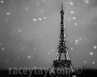Paris Print, Valentine, Eiffel Tower Hearts, Black & White Photography, Starry Night Sky, Travel, Paris Wall Decor, City Lights