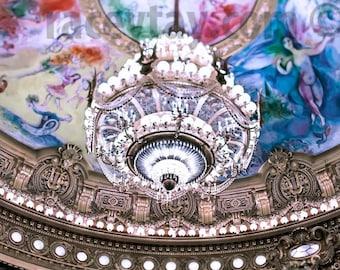 Chandelier Wall Art, Paris Print, White, Gold, Colorful, Opera House, Paris Photography Large Wall Art, Chandelier Print