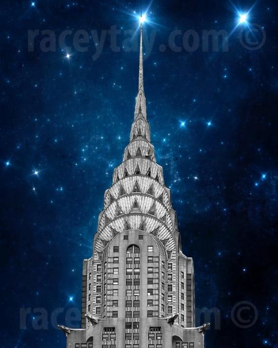Chrysler Building, Art Deco, New York Photography, Navy Blue, Silver, New York City Print, Chrysler and Stars