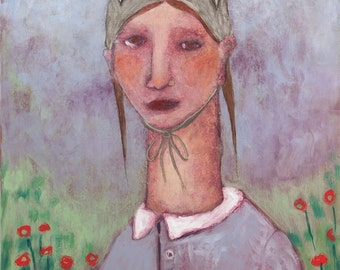 Folk art painting portrait girl bunny hat figurative expressionist original on pine board