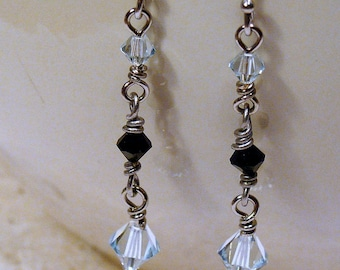 Clear and Black Icicle Earrings