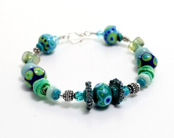 Glass Bead Bracelet. Artisan Lampwork Beads. SS Bali Beads. Turquoise Cobalt Tribal Beads Bracelet. Lampwork Bead Jewelry.