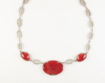 Antique Sterling and Carnelian Necklace with Floral Motif