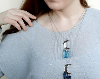 Silver Moon Necklace, Quartz Point Necklace, Long  Boho Necklace, Crescent Necklace