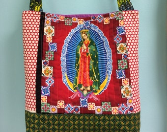 The LADY of GUADELOUPE in RED Mother Mary quilted  tote bag handmade Tanzania textile Shweshwe vintage fabric