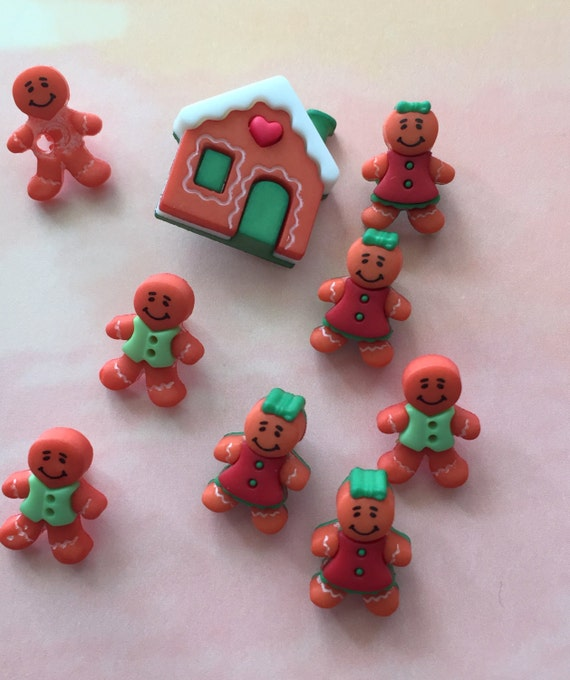"Gingerbread Men & Gingerbread House Buttons, Packaged Novelty Buttons, ""Gingerbread Cottage"" Style #4454 by Buttons Galore"