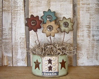 Primitive Grubby Polymer Clay Vintage Button Daisy Arrangement in Oval Decoupage Box Flower Pot SMALL SIZE Rustic Daisies Country Decor Gift