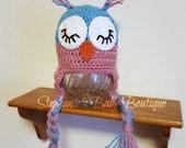 Ready to Ship, Crochet 12 Months Baby Girl Sleepy Owl Hat, Photo Prop, Winter wear, Animal Cap, Pink, Valentine's Day