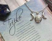 Rainbow Moonstone Triple Goddess Moon necklace