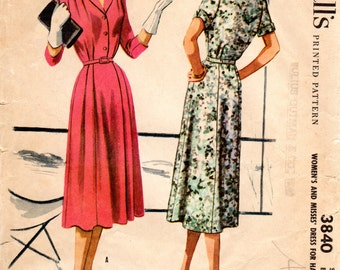 1950s Womens Shirtwaist Dress Pattern - Vintage McCall's 3840 - Bust 37