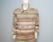 Vintage Early 90's Southwestern Button  Down Blouse Top - Size