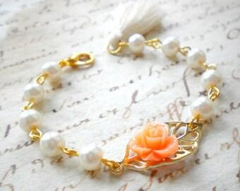 Flower Girl Bracelet Gift For Girls Tassel Bracelet Gold Leaf Bracelet Woodland Leaf Jewelry Peach Bracelet Leaf Wedding Jewelry