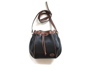 Vintage Bucket Bag / Leather Bucket Bag / Drawstring Purse / Two Tone Leather Bag