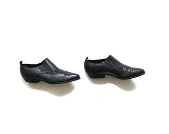 Vintage Ankle Boots 8.5 / Black Leather Winklepickers / Leather Booties