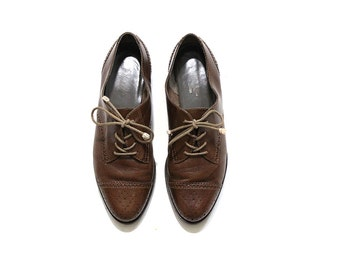 Vintage Leather Oxfords 8 / Brown Leather Oxfords / Lace Up Brogues