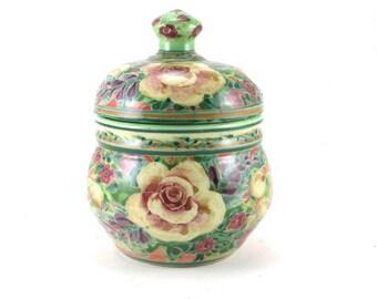 Orange Covered Jar - Lidded Porcelain Flower Vase - Ceramic Urn with Floral Design - Stoneware Crock