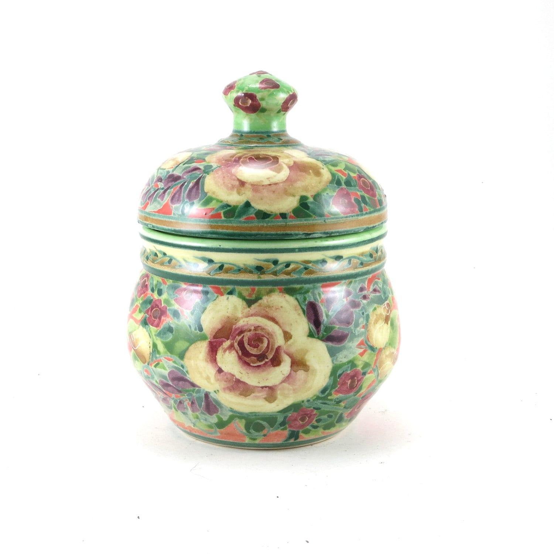 Orange Covered Jar Lidded Porcelain Flower Vase Ceramic