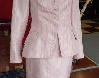 Vintage 1950's Style MAGGIE NORRIS COUTURE  Womens Suit Dusty Rose Moire Taffeta