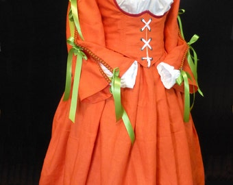 Linen Renaissance Faire dress in Autumn Colors, size 16