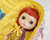 SALE SALE Travel Bag Sleeping Protective Doll Case Blythe Littlefee YOSD Penny by Linda Macario 1/6 Bjd Dal Pullip Dots Yellow Pink