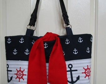 Nautical Tote Bag PATTERN, Easy Sewing Pattern, Weekender Bag, Beach Bag, Diaper Bag, Nautical Purse Pattern, PDF, Large Tote Bag, Carry All