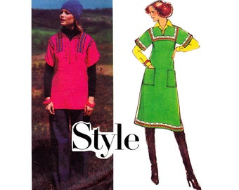70s Boho Hippie Top Dress Pattern Style 1640 Vintage Sewing Pattern Size 12 Bust 34 inches