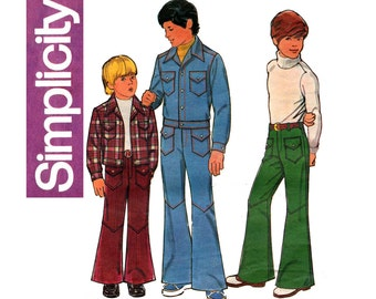 Simplicity 5764 Boys Jean Jacket & Bell - Bottom Pants 1970s Vintage Sewing Pattern Size 6 Chest 25 Inches UNCUT Factory Folded
