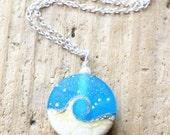 Ocean Necklace, Beach Necklace, Ocean Jewelry, Aqua Blue Wave Lampwork Pendant Necklace, Blue Sea Glass, Beach Wedding Jewelry,  JBMDesigns