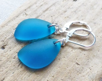 Sea Glass Earrings, Teal Blue Seaglass Earrings, Sea Glass Jewelry, Blue Sea Glass Dangle Earrings, Ocean, Beach Jewelry, Gift For Her