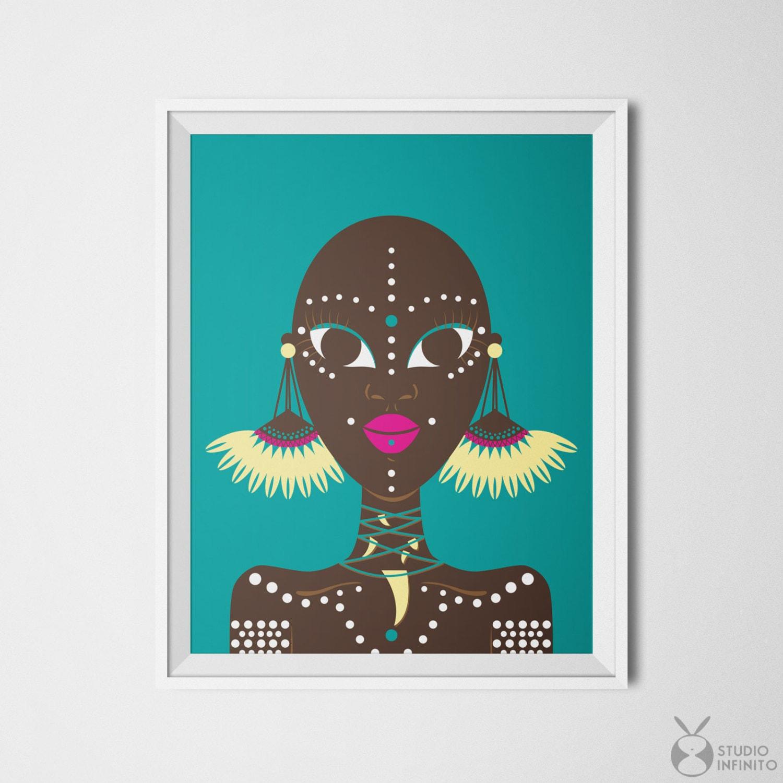 African wall decor ethnic wall art ethnic print african woman for African wall decoration