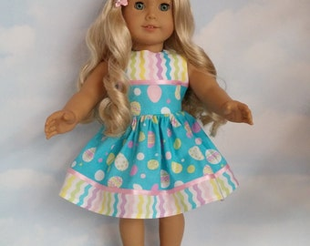 18 inch doll clothes - Aqua Easter Egg Dress handmade to fit the American Girl Doll